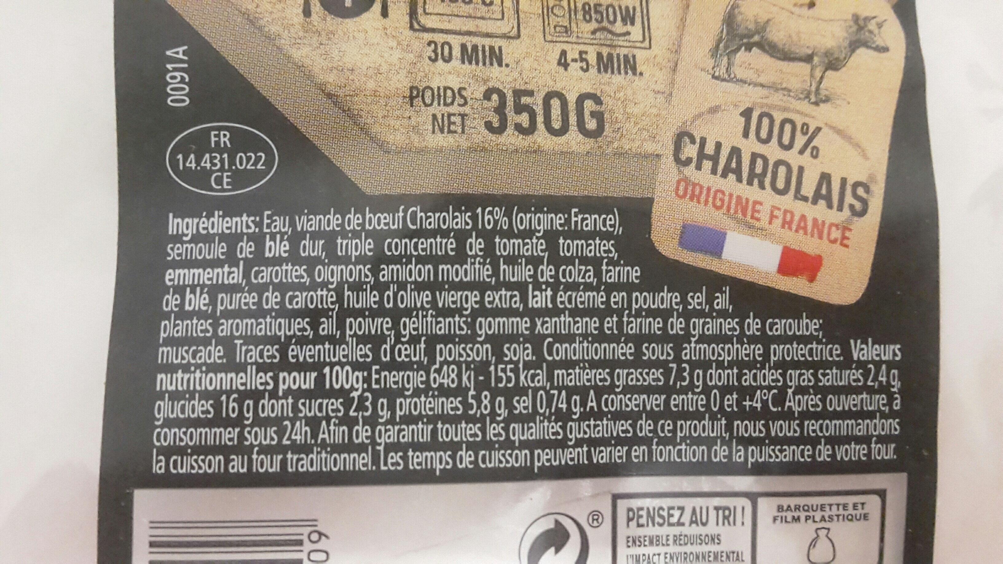 Lasagne bolognaise au Boeuf - Ingrédients - fr