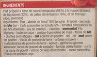 Lasagnes à la Bolognaise - Ingredients - fr