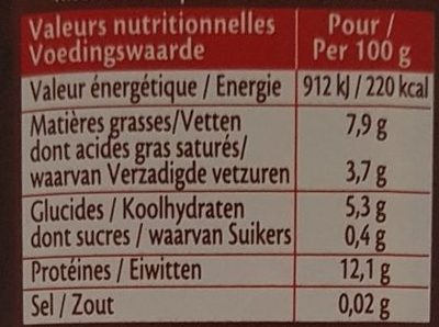 Cankao - Nutrition facts - fr