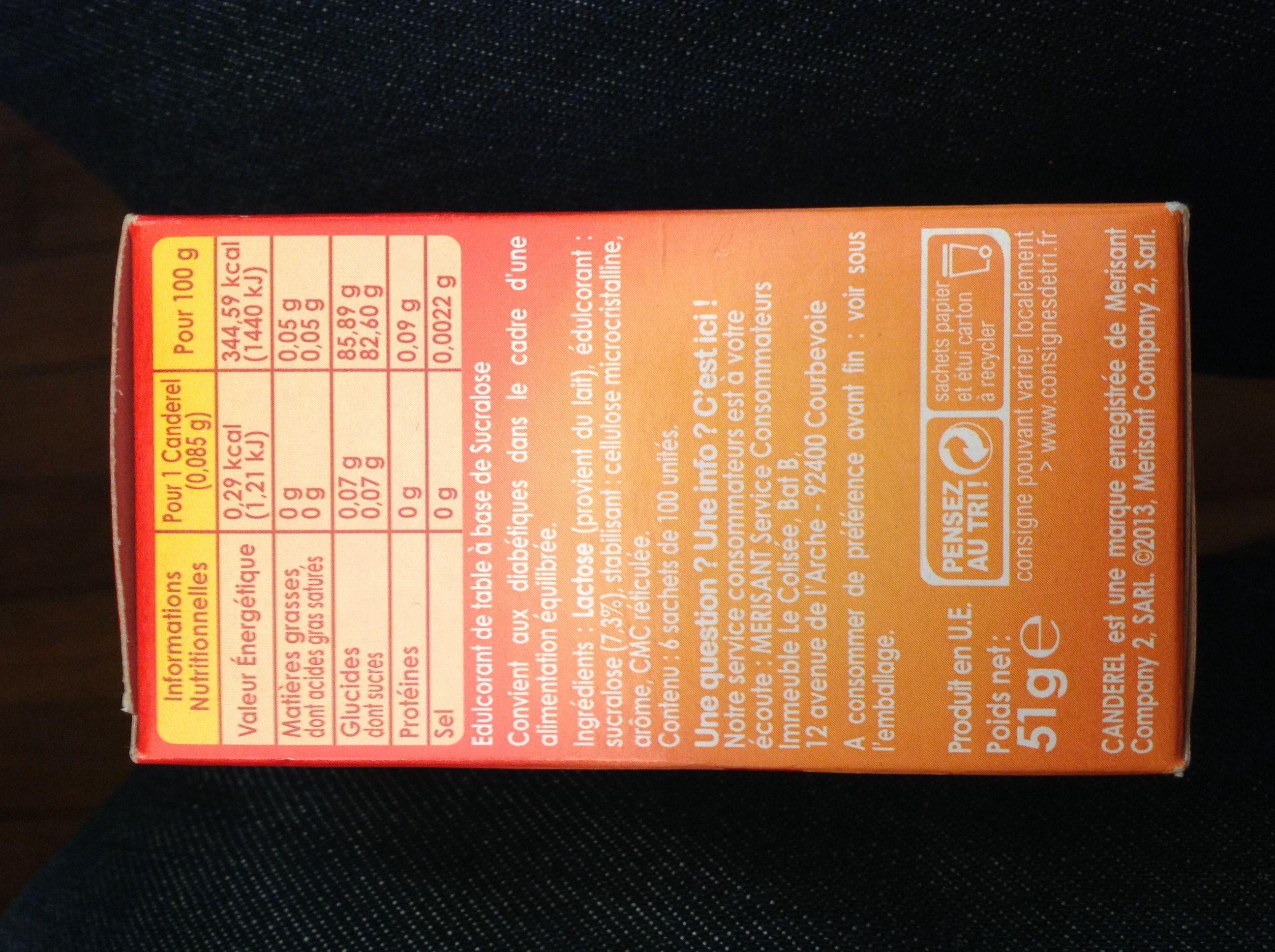 Sucralose au bon goût sucré - Informations nutritionnelles