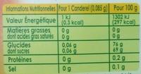 Stevia d'origine naturelle - Nutrition facts