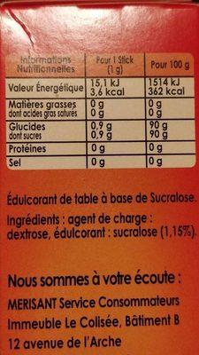 Sucralose - Informations nutritionnelles