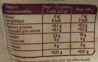 Poudre stevia - Informations nutritionnelles