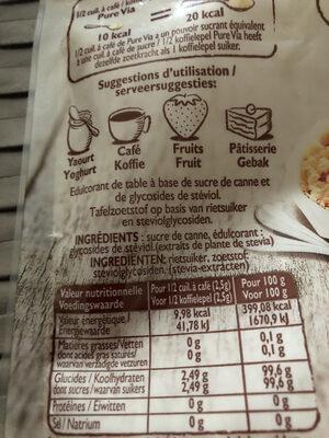 Pure via stevia - Informations nutritionnelles