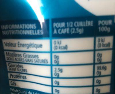 Poudre cristallisée Sugarly - Informations nutritionnelles - fr