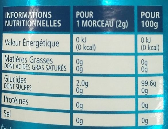 Sugarly - Informations nutritionnelles - fr