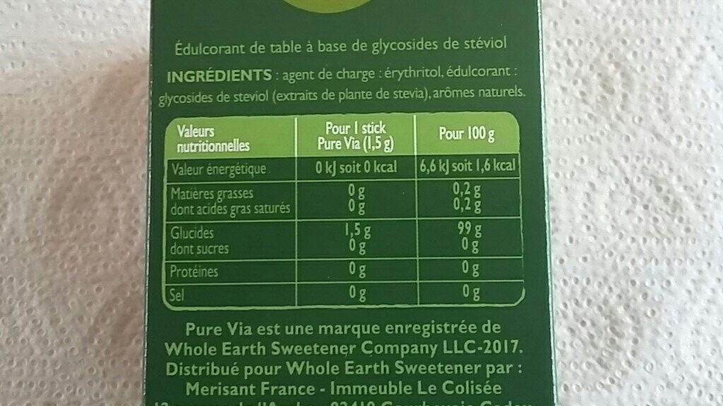 Edulcorant Stévia sticks Pure Via - Ingrediënten - fr
