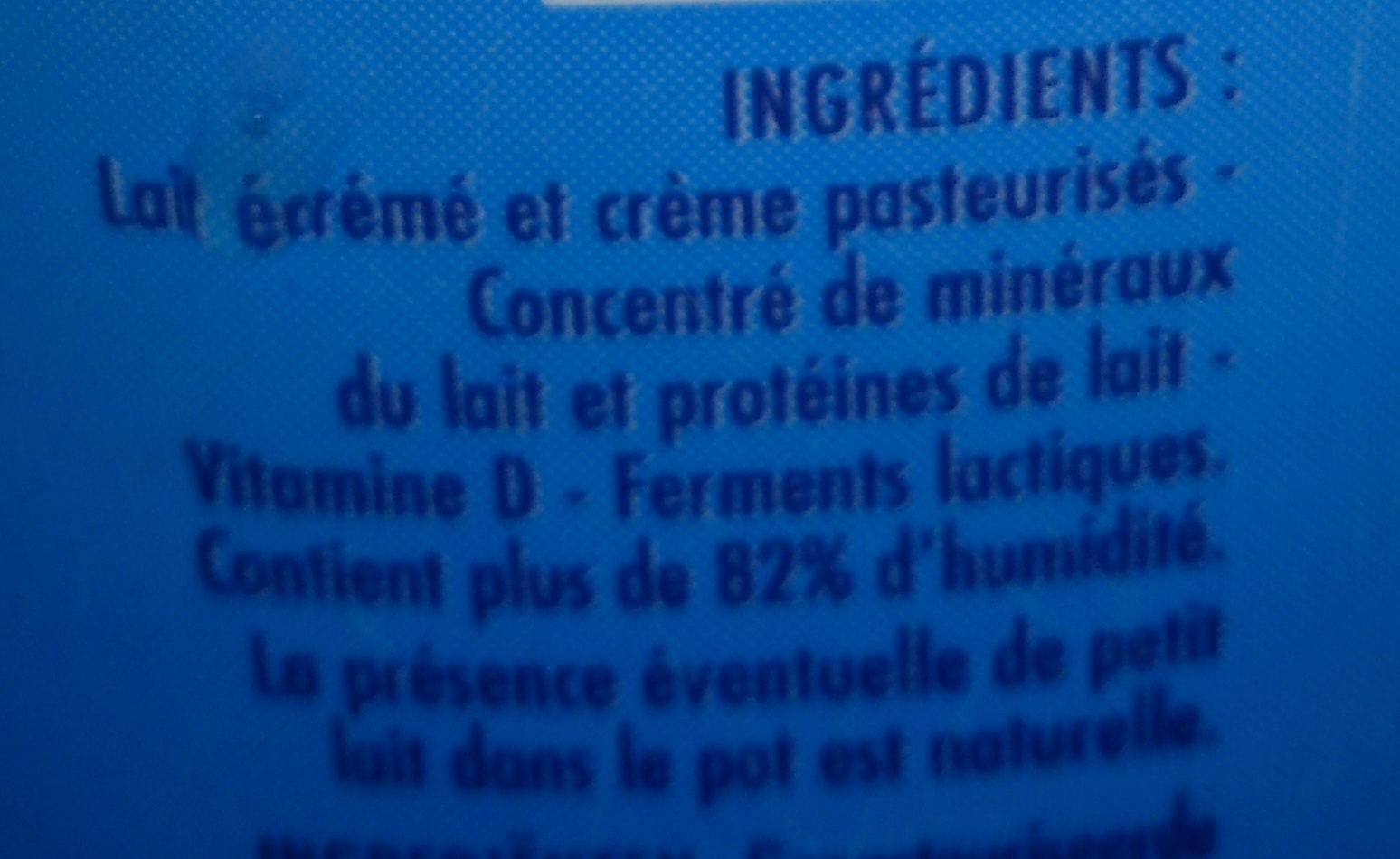 Calin (3,2 % MG) - Ingrédients - fr
