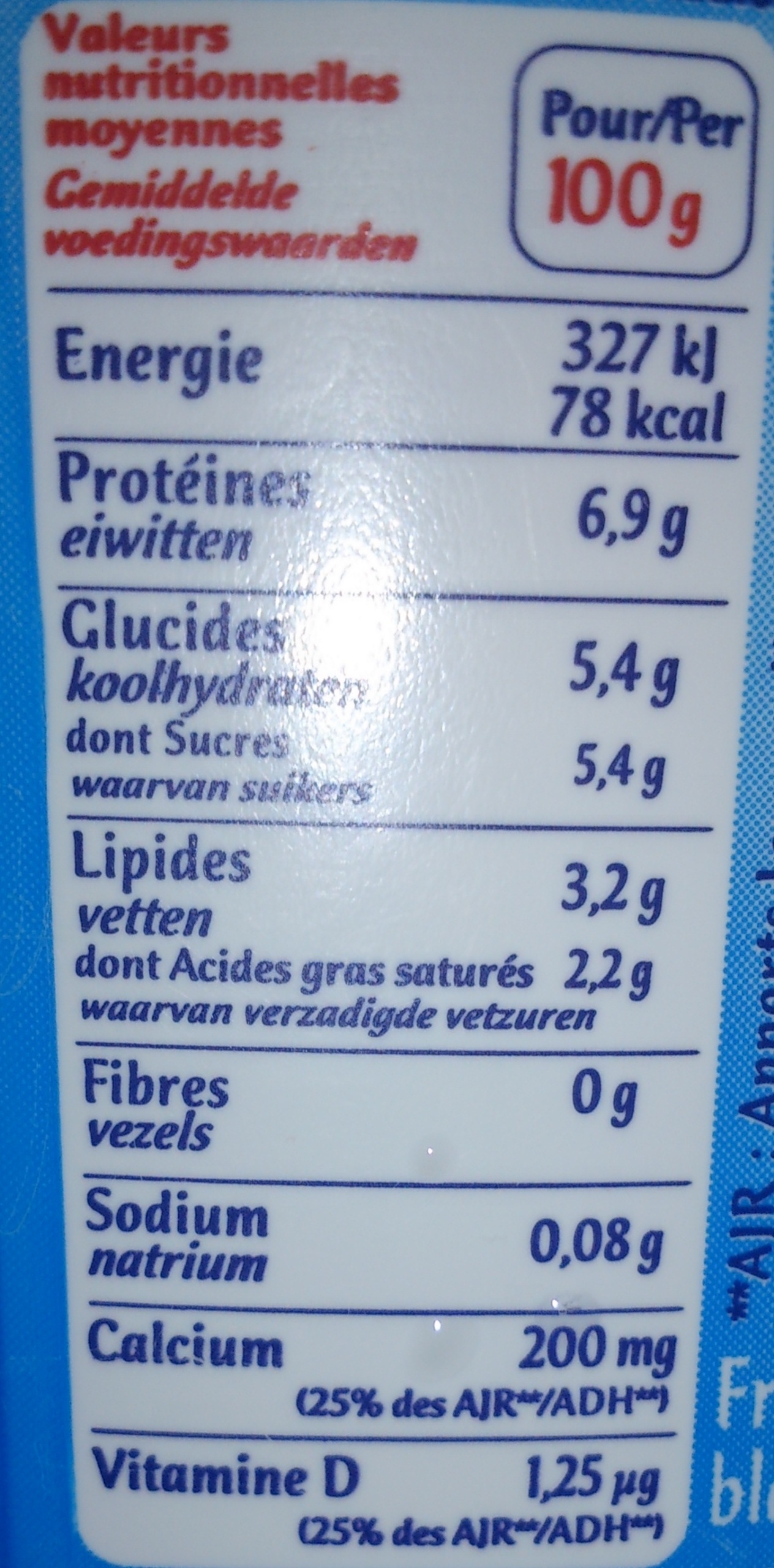 Calin (3,2 % MG) - Informations nutritionnelles - fr