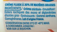 Creme Fleurette - Ingrédients - fr