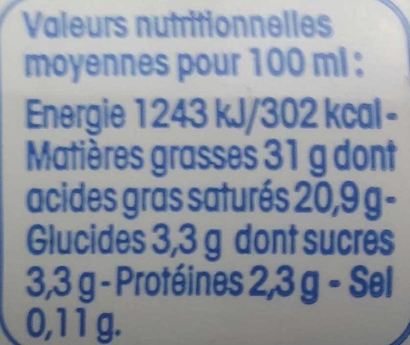 Creme Fleurette - Informations nutritionnelles - fr