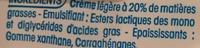 Fleurette (20 % MG), Très onctueuse - Ingrédients