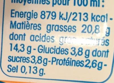 Fleurette (20 % MG), Très onctueuse - Informations nutritionnelles