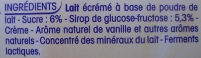 P'tit Yop, Goût Vanille (Offre €co) - Ingredients