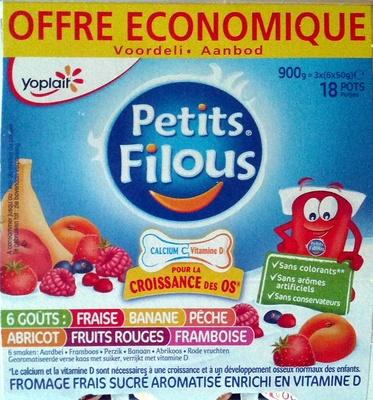 Petits Filous (6 Goûts : Fraise, Banane, Pêche, Abricot, Fruits Rouges, Framboise) 18 Pots - Product