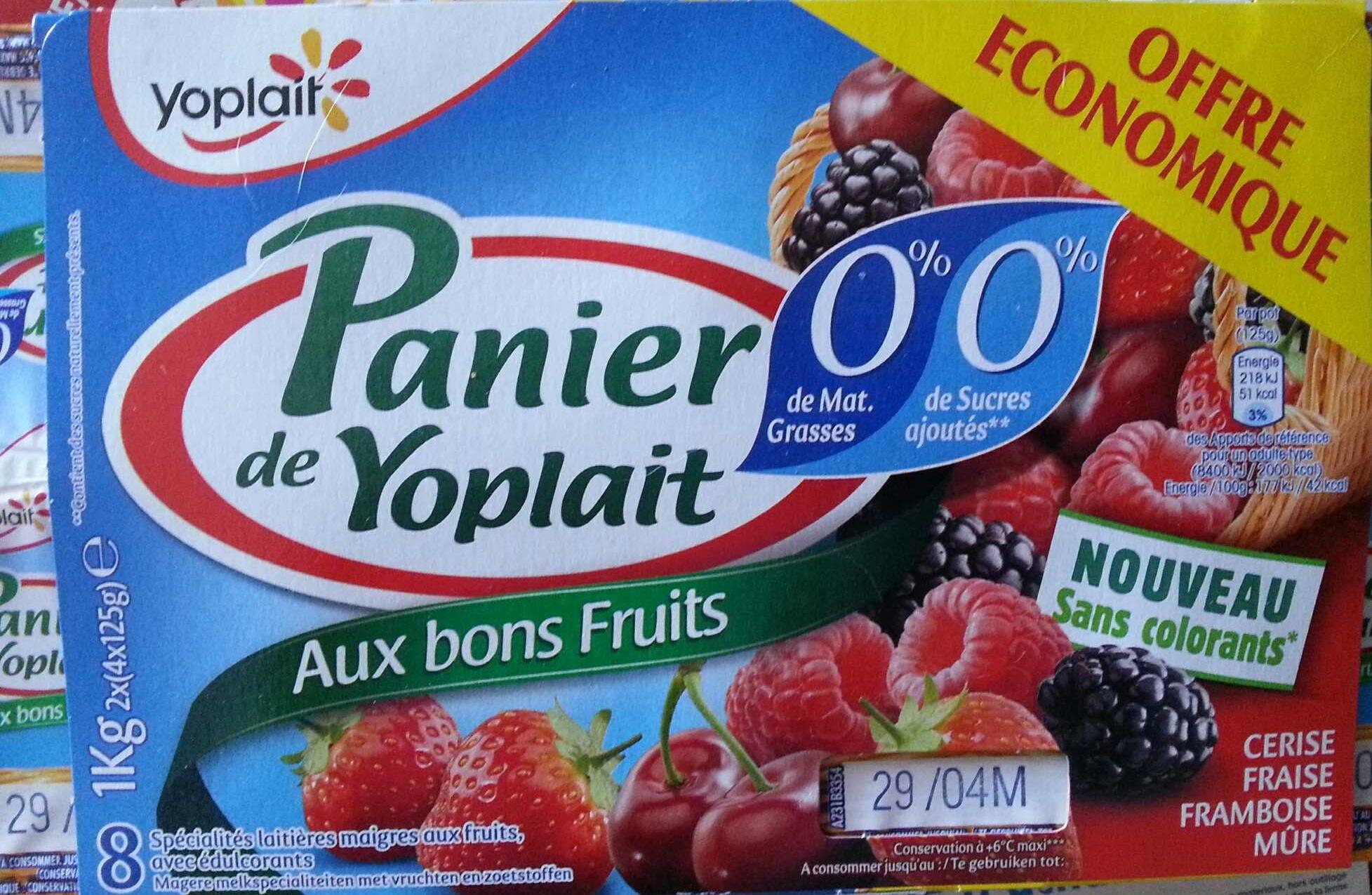 Panier de Yoplait (0 % MG, 0 % Sucres ajoutés) - (Cerise, Fraise, Framboise, Mûre) 8 Pots - Product - fr