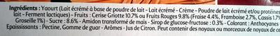 Panier de Yoplait Cerise, Fruits rouges - Ingredients