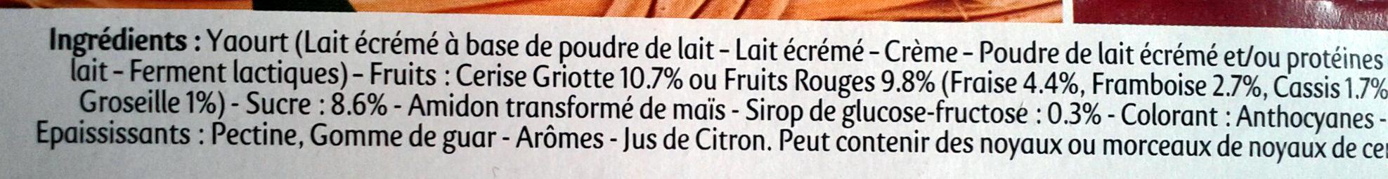 Panier de Yoplait Cerise, Fruits rouges - Ingrediënten