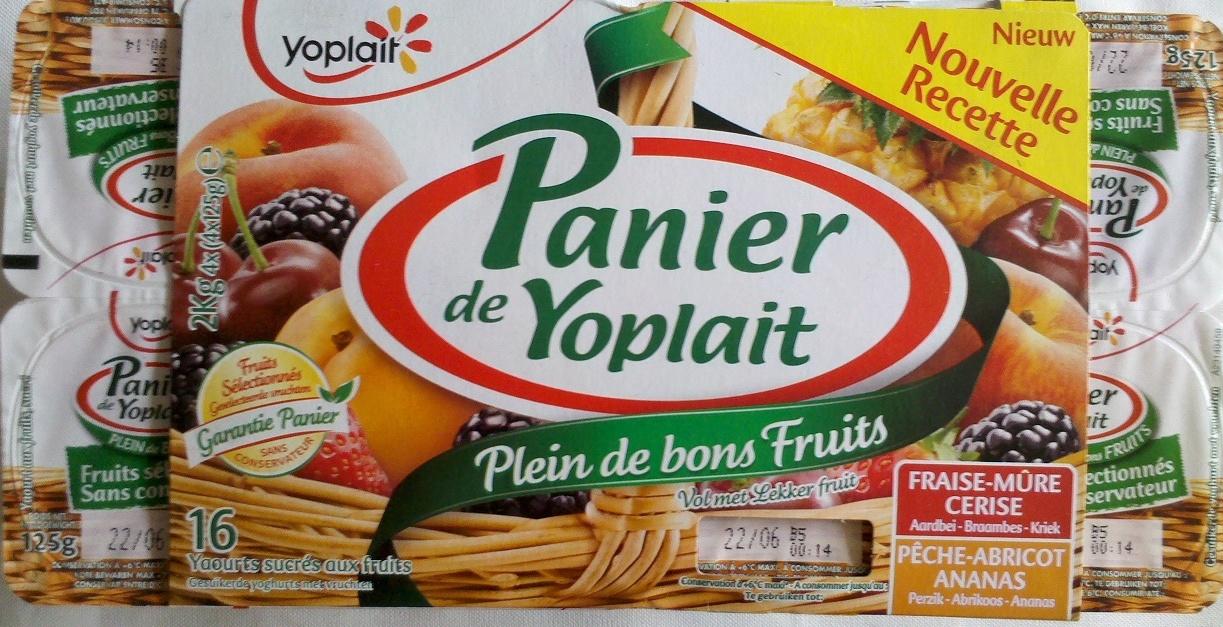 Paniers de Yoplait (Abricot, Ananas, Cerise, Fraise, Mûre, Pêche) 16 Pots - Product - fr