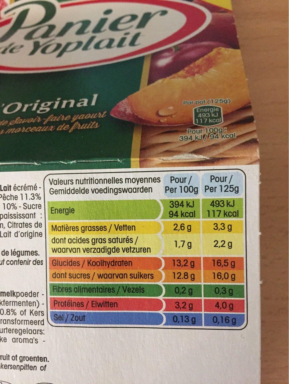 Panier de Yoplait L'Original - Informations nutritionnelles - fr
