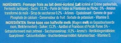 Petits Filous tub's (3 Fraises, 3 Framboises, 3 Pêches) - Ingrediënten - fr