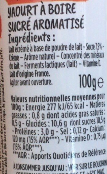 Mini Yop Fraise - Nutrition facts - fr