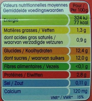 P'tit Yop goût Fraise - Nutrition facts - fr