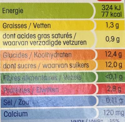 Mini Yop, Goût Fraise - Informations nutritionnelles - fr