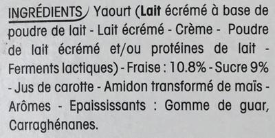 Panier de Yoplait Fraise - Ingredients