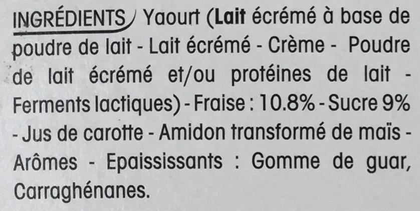 Panier de Yoplait Fraise - Ingrédients