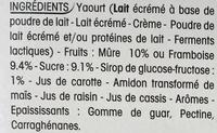 Panier de Yoplait Framboise Mûre - Ingredients - fr