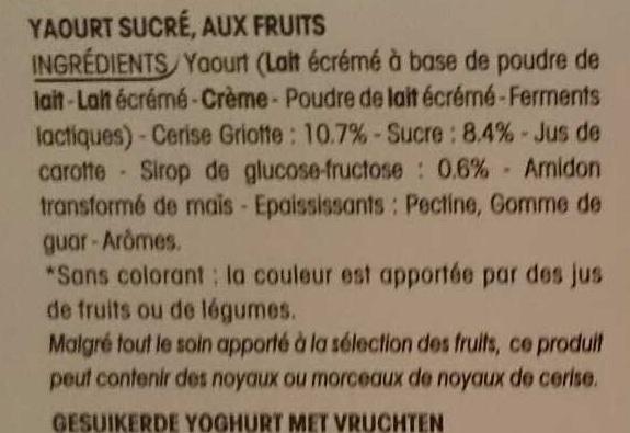Panier de Yoplait Cerise - Ingredients - fr
