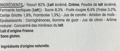 Recette au yaourt nature, sur lit de fruits rouges - Ingrédients - fr