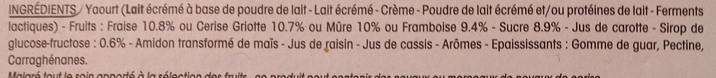 Panier de Yoplait Cerise, Fraise, Framboise, Mûre - Ingrédients