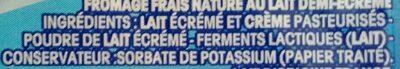 Fromage frais nature au lait demi-écrémé. - Ingredientes - fr