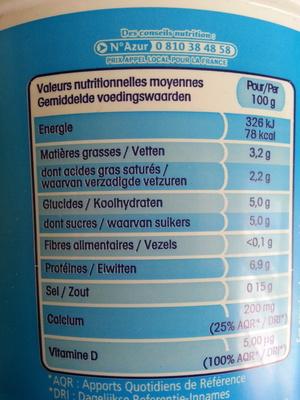 Calin - Informations nutritionnelles