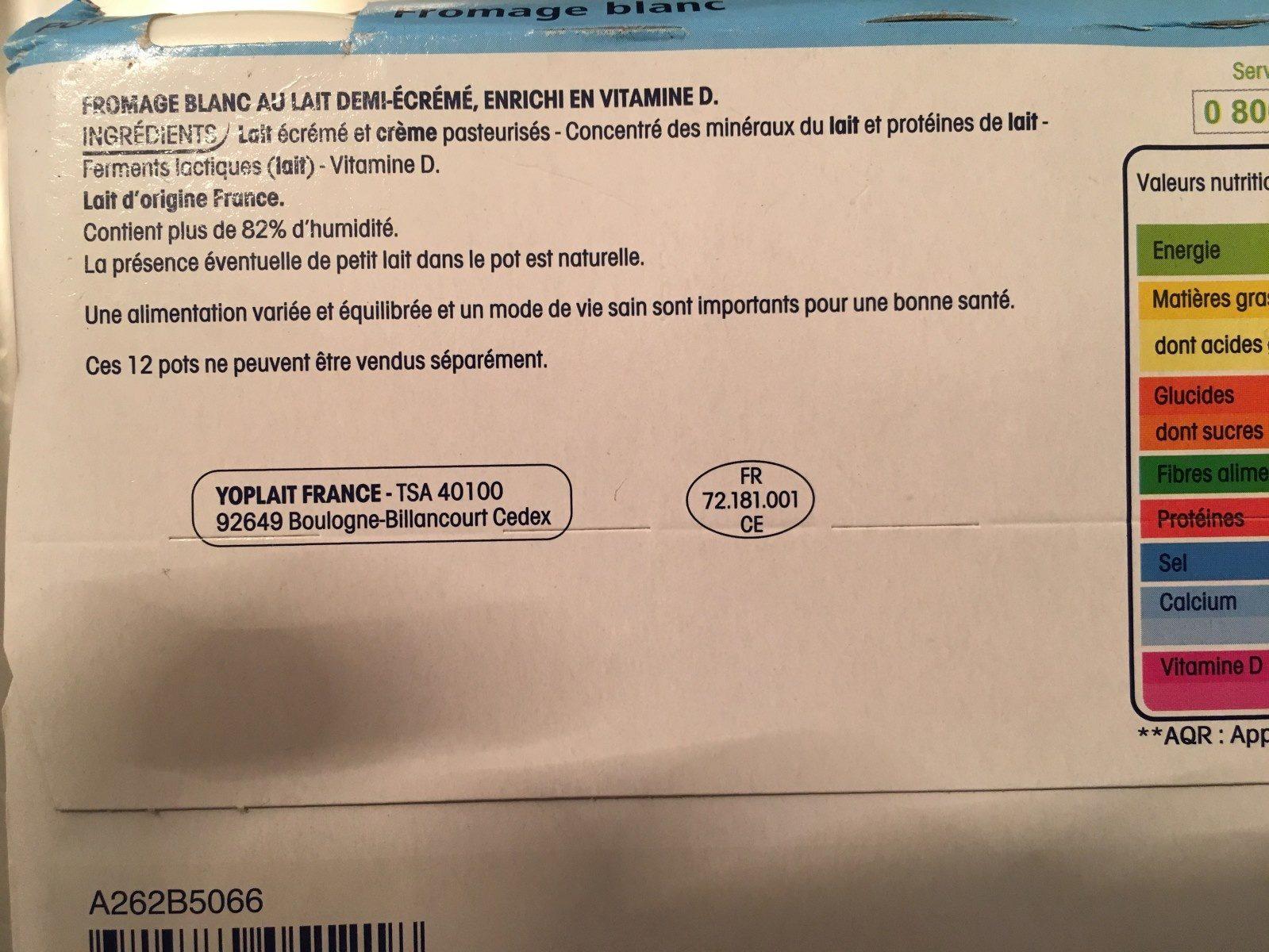 YOPLAIT CALIN + FROMAGE BLANC NATURE - Ingrédients - fr