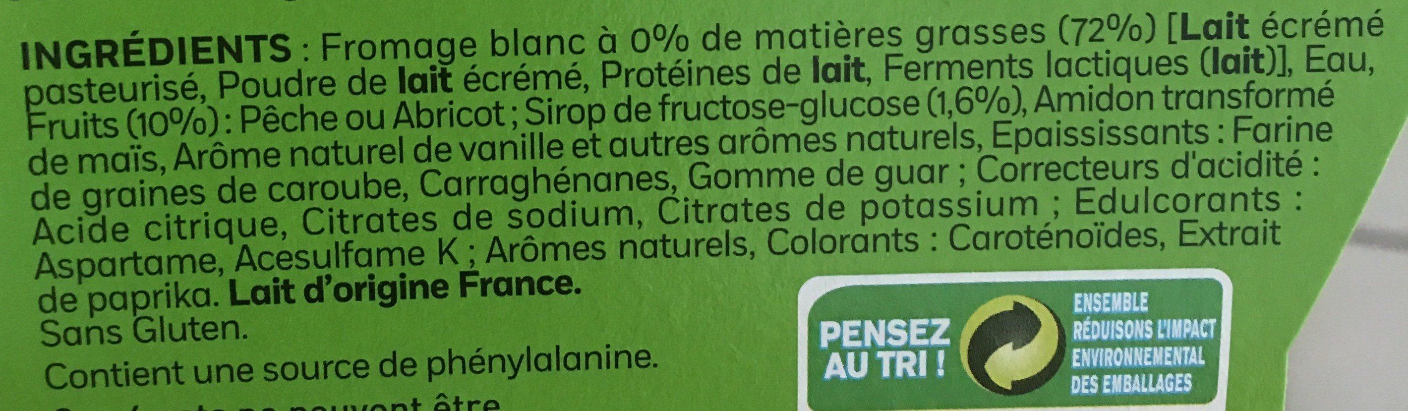 WEIGHT WATCHERS FINESSE 0% MG SUR LIT DE FRUITS JAUNES 100GX4 - Ingrediënten
