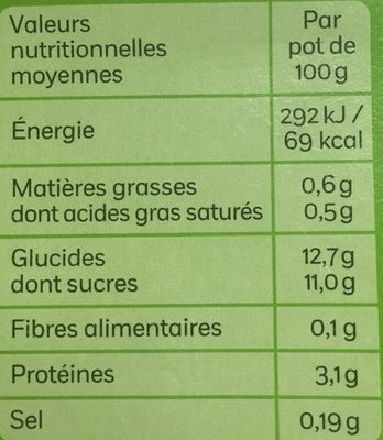 Île Fondante sur lit de caramel (0.6% MG) - Informations nutritionnelles - fr