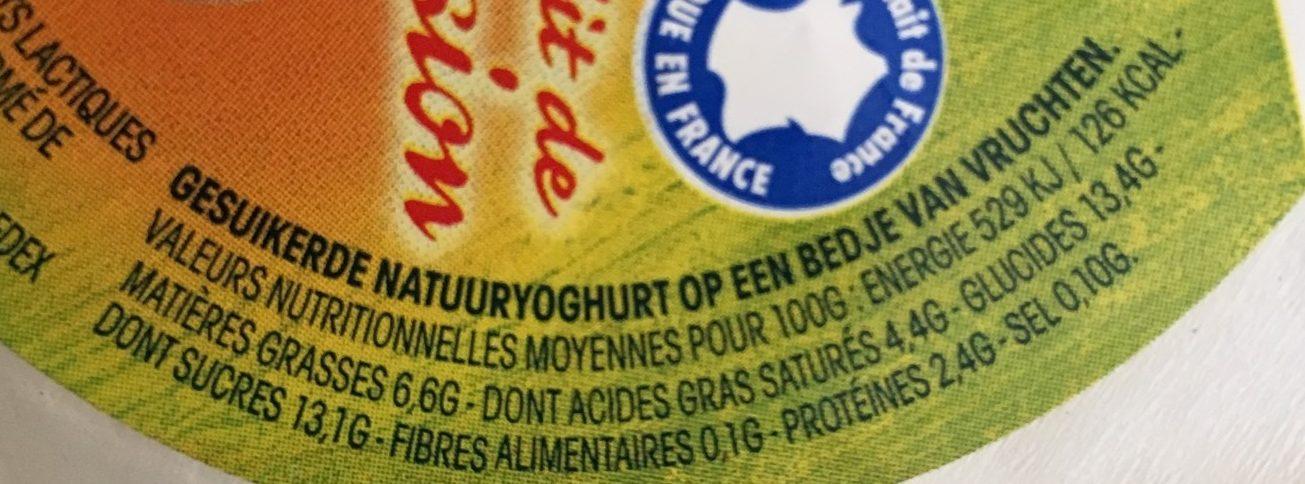 Yaourt nature sucré sur lit de fruits, aromatisé. - Informação nutricional - fr