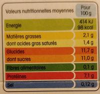 Yopa citron - Informations nutritionnelles - fr
