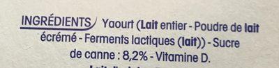 Yaourts nature sucrés - Ingredients