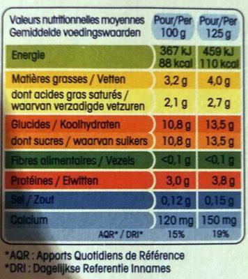 Yaourts nature sucrés - Nutrition facts