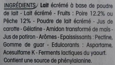 Panier de Yoplait 0 % MG, 0 % Sucres ajoutés Pêche, Poire - Ingredients