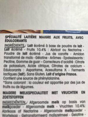 Panier de Yoplait 0% Abricot/Nectarine - Ingrédients