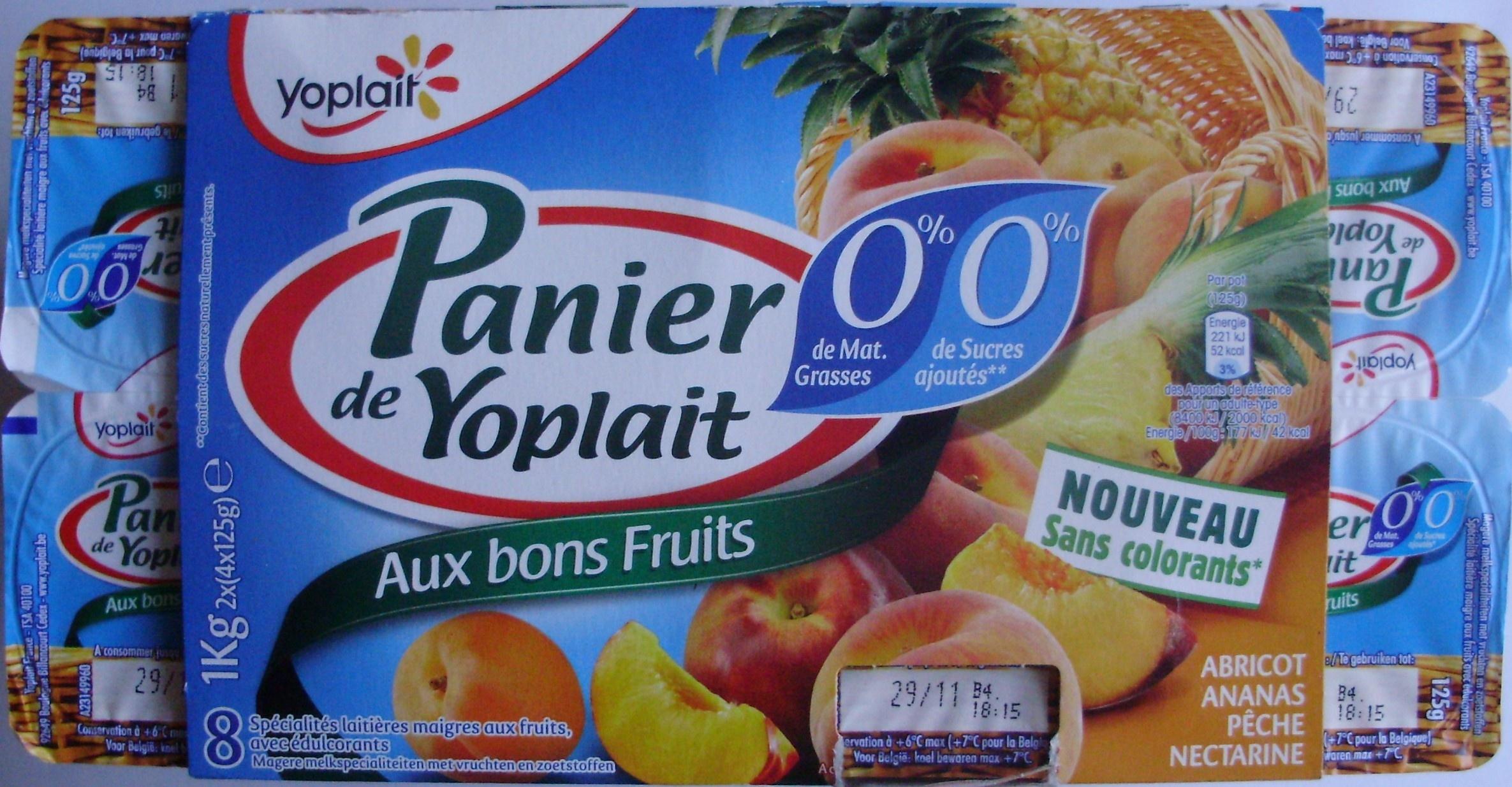 Paniers de Yoplait Aux Bons Fruits 0% mg - Product