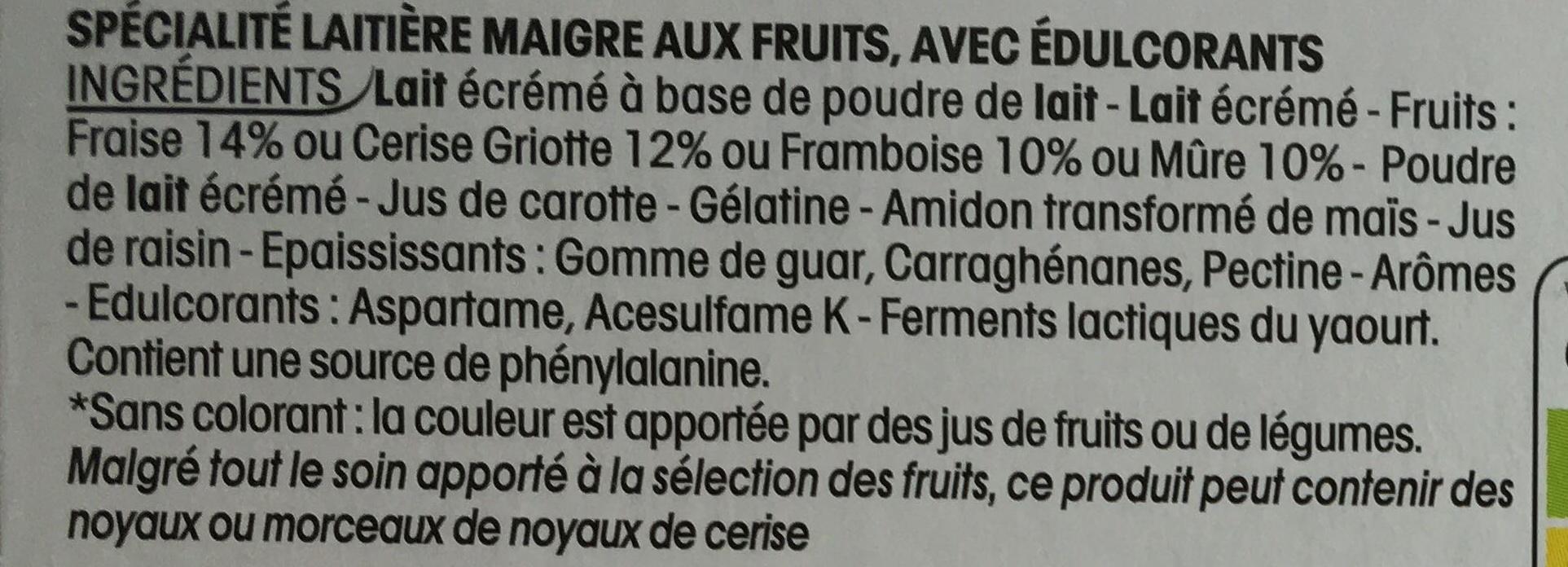 Panier de yoplait aux bons fruits 0% - Ingrediënten - fr