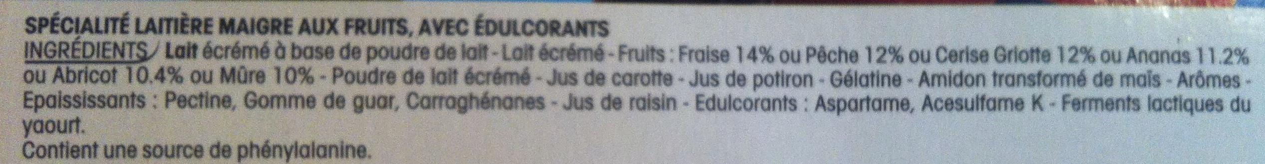 Panier de Yoplait  (0 % MG, 0 % Sucres ajoutés) - (Abricot, Ananas, Cerise, Fraise, Mûre, Pêche) 16 Pots - Ingrédients - fr