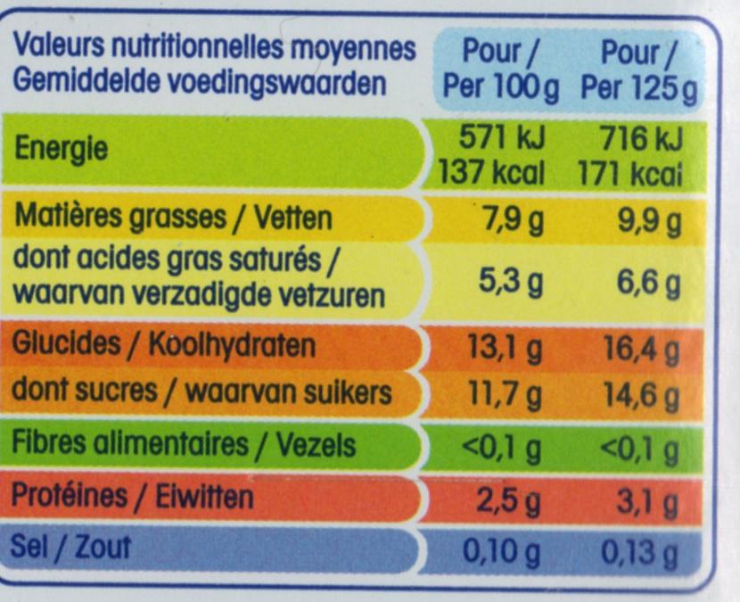 Perle de lait saveur vanille - Informations nutritionnelles - fr