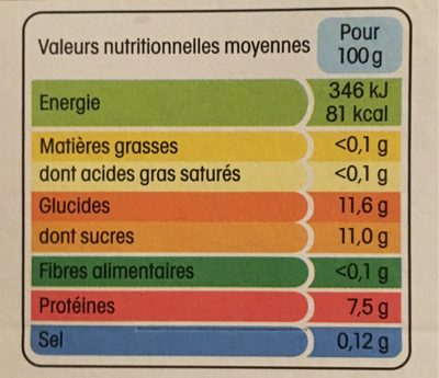 Yopa ! Nature sur lit d'Ananas (0 % MG) - Informations nutritionnelles - fr